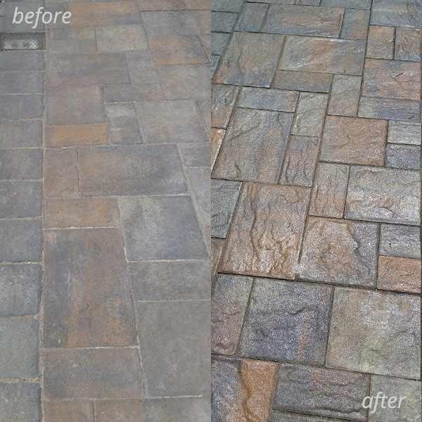sealer before and after pictures on paver bricks
